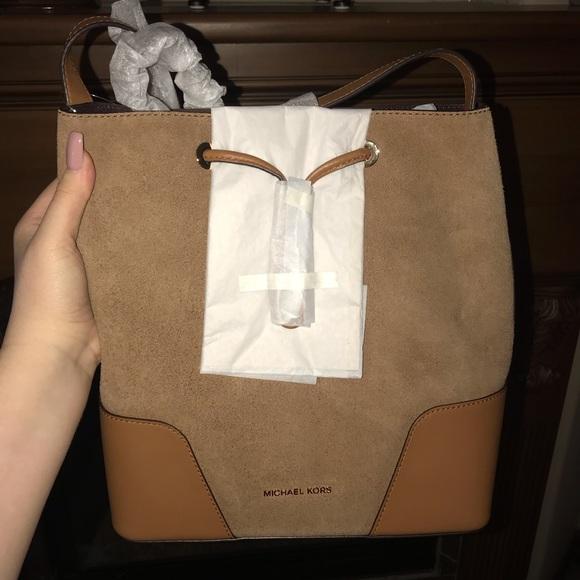 c8ba9db602ca77 MICHAEL Michael Kors Bags | Cary Medium Suede Bucket Bag From ...
